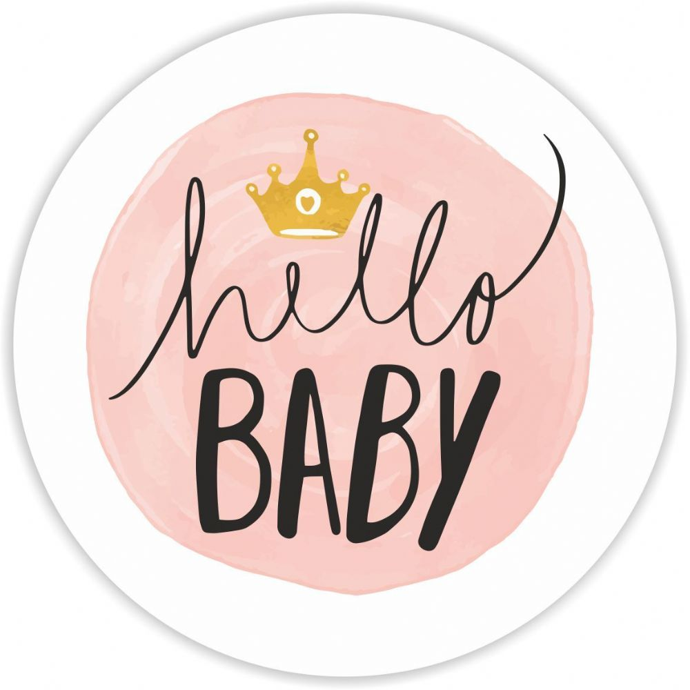 Baby Shower Stickers Hello Baby Pink 37mm Round Matt Paper 9555 P on car kitchen
